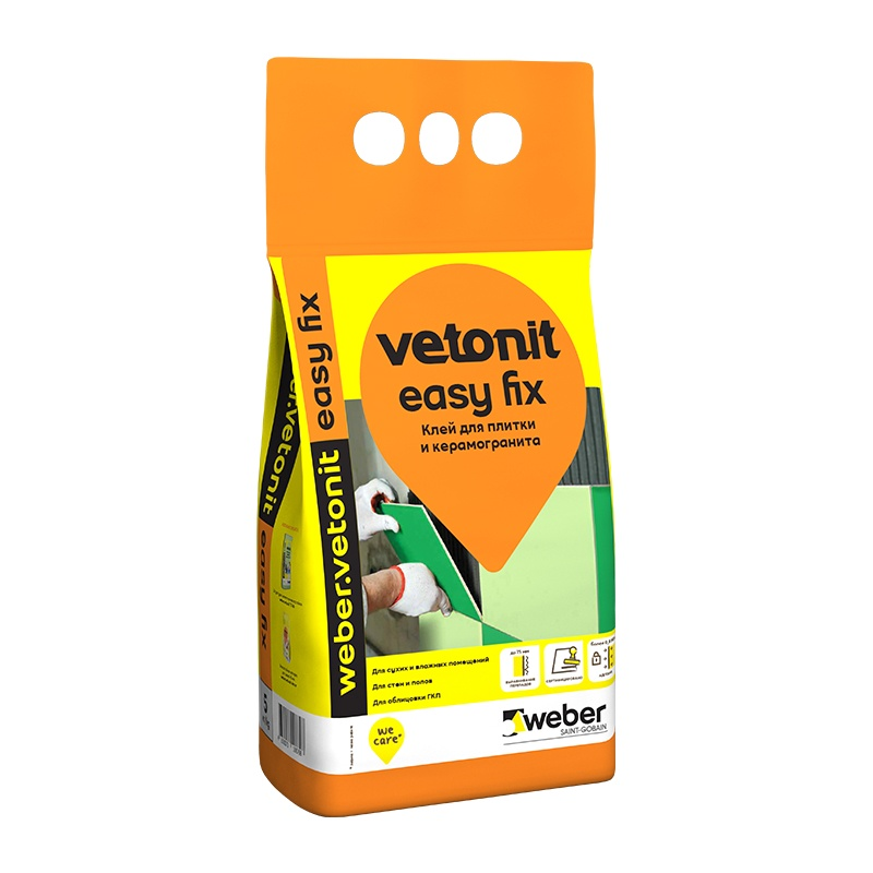 Клей для плитки и керамогранита Weber Vetonit Easy Fix, 5 кг